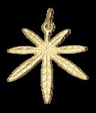 Gouden Hennepblad wiet groot 2 ketting hanger_