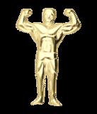 Gouden Bodybuilder 2 armen hoog ketting hanger_