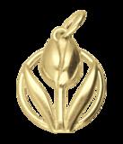 Gouden Tulp in cirkel ketting hanger_