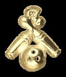 Gouden 2 Bowling pins met bal ketting hanger_