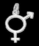 Zilveren Man/vrouw teken ketting hanger - 2_