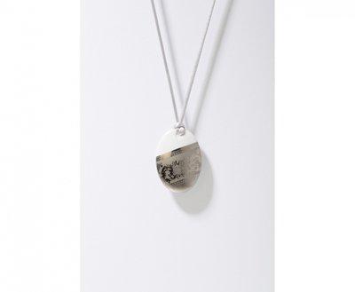 Ilse Collectie platina ovaal porseleinen ketting hanger