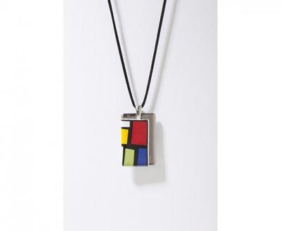 Kubus Collectie platina rechthoek porseleinen ketting hanger