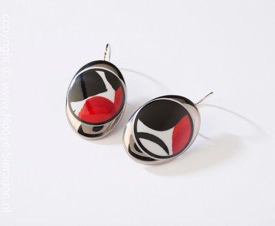 Durf Collectie platina ovaal porseleinen oorhangers