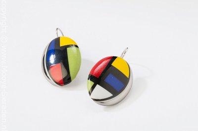 Kubus Collectie platina ovaal porseleinen oorhangers