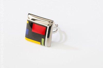 Kubus Collectie platina vierkant porseleinen ring