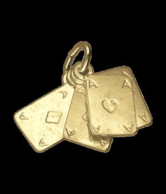 Gouden Pokerkaarten ketting hanger