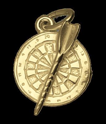 Gouden Dartbord met pijl klein ketting hanger
