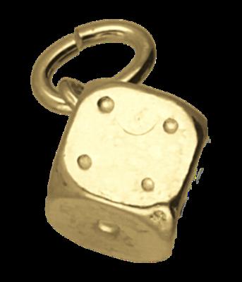 Gouden Dobbelsteen middel ketting hanger