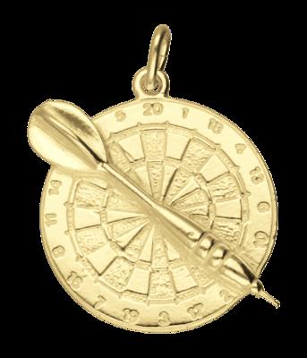 Gouden Dartbord met pijl ketting hanger