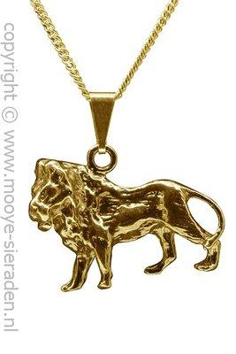 Gouden Leeuw groot ketting hanger