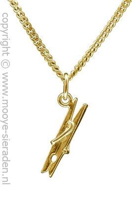 Gouden Knijper ketting hanger