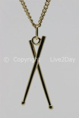 Gouden Drumstokken ketting hanger