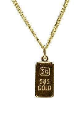 Gouden Goudbaar ketting hanger