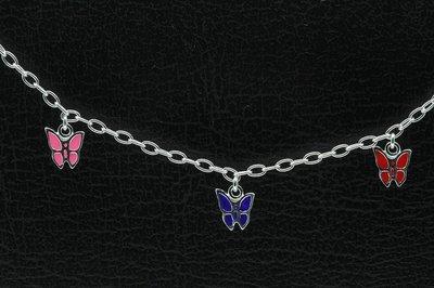 Zilveren 3 vlinders Kinder armband - 14 cm