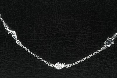 Zilveren dolfijn,slak,schildpad Tiener armband - 16 cm