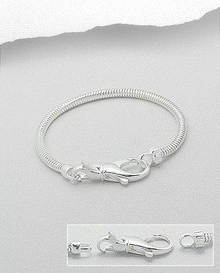 Zilveren bead - slangen armband 21,25 cm