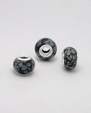 Zilveren edelsteen bead - snowflake obsidian