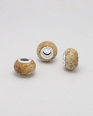 Zilveren edelsteen bead - jasper