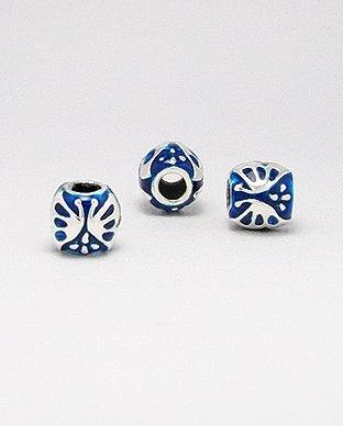 Zilveren emaille bead - deco 2 blauw