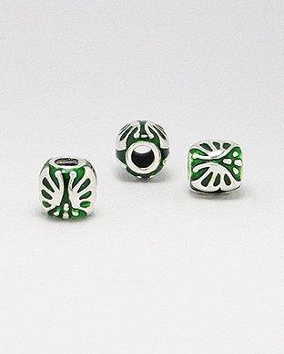 Zilveren emaille bead - deco 2 groen