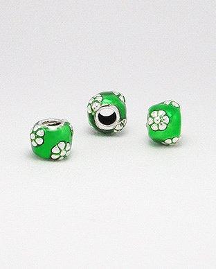 Zilveren emaille bead - deco 3 groen