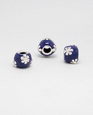 Zilveren emaille bead - deco 3 paars