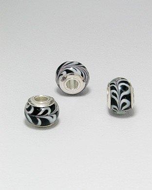 Zilveren glas bead - deco blad