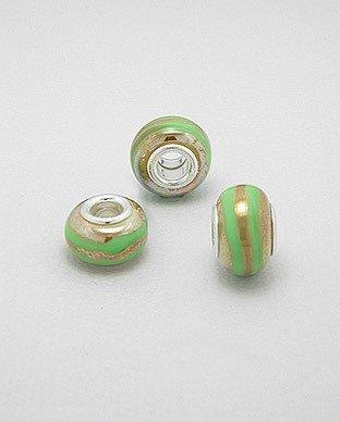 Zilveren glas bead - deco groene band