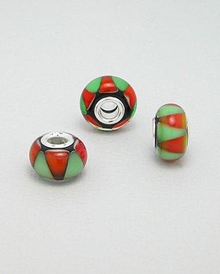 Zilveren glas bead - deco rood-groen