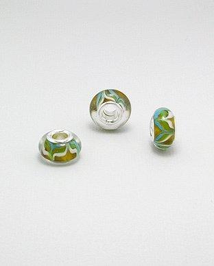 Zilveren glas bead - deco bloemmotief