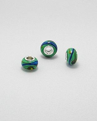 Zilveren glas bead - deco groen bewerkt
