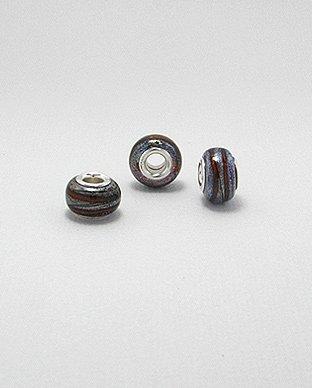 Zilveren glas bead - deco rood/bruine band