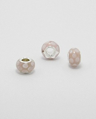 Zilveren glas bead - deco roze wit