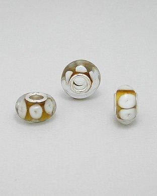 Zilveren glas bead - deco bruin/wit