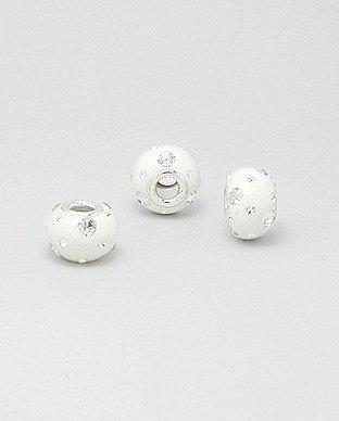Zilveren glaskristal bead - deco wit