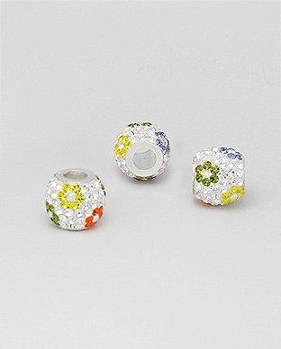 Zilveren glaskristal bead - deco bloem multi