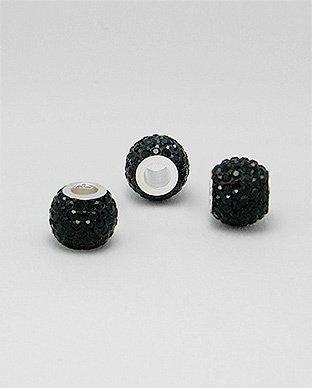 Zilveren glaskristal bead - deco kristal zwart