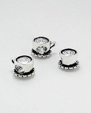 Zilveren bead - thee kopje