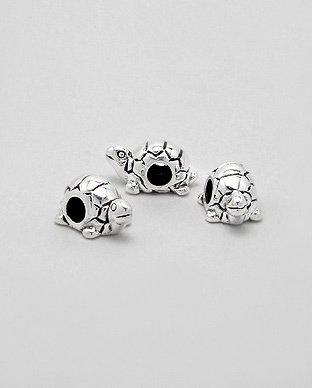 Zilveren bead - schildpad