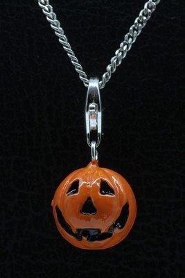 Zilveren Halloween pompoen oranje hanger én bedel
