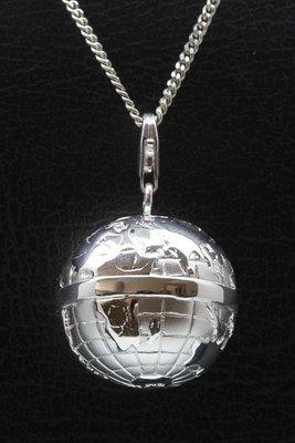 Zilveren Wereldbol XL mat/glans hanger én bedel