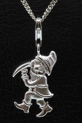 Zilveren Dwerg met pikhouweel hanger én bedel