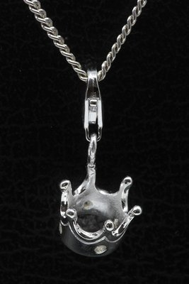 Zilveren Kroon met zirkonia hanger én bedel