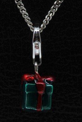 Zilveren Kado groen rode strik hanger én bedel