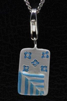 Zilveren Slaapzak blauw wit hanger én bedel