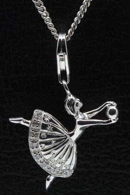 Zilveren Ballerina hanger én bedel