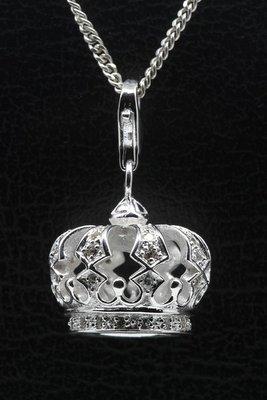 Zilveren Kroon met kristallen groot hanger én bedel