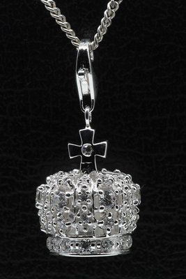 Zilveren Kroon met kristallen hanger én bedel