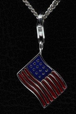 Zilveren Amerikaanse vlag USA Stars and stripes hanger en/of bedel